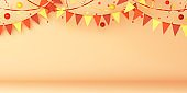 Triangle orange bunting garland flags, Autumn decoration concept design, confetti on background,, halloween, copy space text, 3D illustration.