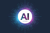 Artificial Intelligence Logo. Artificial Intelligence and Machine Learning Concept. Vector symbol AI. Neural networks and another modern technologies concepts. Quantum computer technology concept.