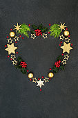 Abstract Heart Shaped Christmas Wreath