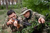 Hunters Ambushed and Taking Aim to Wild Duck.