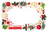 Christmas Background Border with Stars Flora and Baubles