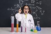 surprised scientist child having an idea