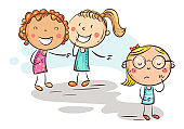 Children laughing and pointing at the shy girl in glasses, school bullying, doodle drawing