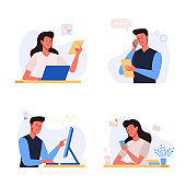 Office business people illustration in flat design. Office workplace