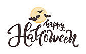Happy Halloween quote. Vector illustration lettering text