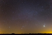 orion constellation on a night sky background