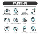 Navigation solid icons set. Gps, maps, travel,