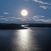 full moon above a lake