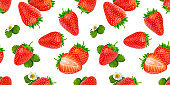 Strawberry seamless pattern isolated on white background