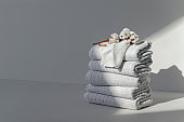 Orderly Stack of Clean Folded White Cotton Towels