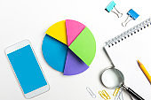 Multi Colored Pie Chart And Blue Screen Smart Phone