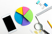 Multi Colored Pie Chart And Smart Phone