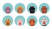 Cat paw icons
