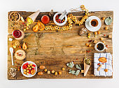 Russian tea ceremony on an old table. White background and space for text