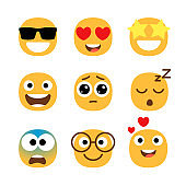 Flat emoticons faces. Simple happy and funny, cartoon smile set, wonder and love with hearts in eyes emoji moods isolated vector illustrations