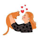 Female hugs cat