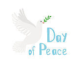 Pigeon of peace. Religious symbol of hope, dove image with olive branch, vector illustration