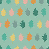 Seamless pattern with multicolored leaves