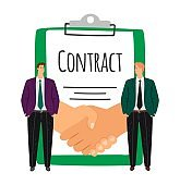 Businessmen and handshake, contract signing