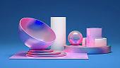 Elegant minimalism geometry background. 3d illustration, 3d rendering.