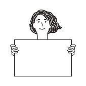 Girl holds blank poster