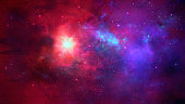 Space background. Colorful nebula with star field. Digital hand painting