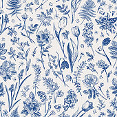 Seamless pattern with garden flowers.