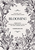 Floral wedding invitation with flowers.