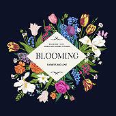 Flower frame. Blooming garden.