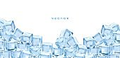 New Realistic ice cubes blocks composition with empty space surrounded by bunch of colorful ice cube images vector EPS illustration