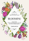Invitation  with flowers. Rhombus.