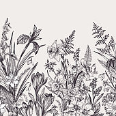 Seamless border with flowers.