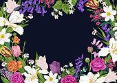 Floral horizontal frame.