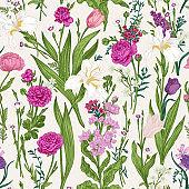Floral seamless pattern  Pink garden flowers.