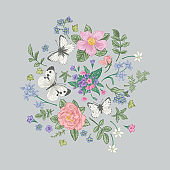 Composition with flowers and butterflies.