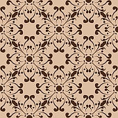 Floral seamless pattern. Brown flowers on beige background