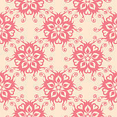 Floral seamless pattern. Pink flowers on beige background