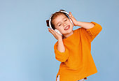 Girl listening to music with closed eyes