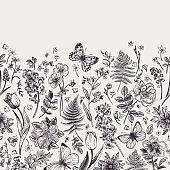 Seamless floral border.
