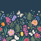 Seamless border with spring flowers.