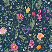 Dark floral seamless pattern.