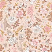 Pink seamless pattern with flowers.