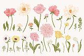 Set with garden flowers.