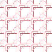Geometric mixed shape seamless pattern. Pink and white background