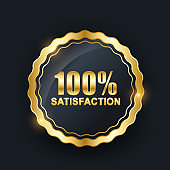 Vector 100 satisfaction guaranteed label on black background