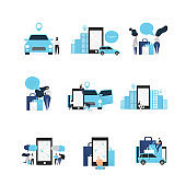Car sharing concept illustration set, perfect for banner, mobile app, Set of icons isolated on white background. Vector illustration in flat cartoon style.