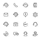 Set of support service line icons. Hotline support service. Call center icons.