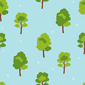 Abstract Forest Tree Seamless Pattern Background. Vector Illustration