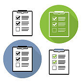 Check List Sign Flat Icon Collection Set Vector Illustration