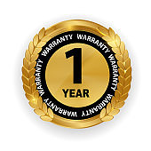 Gold vector guarantee sign, 1 year warranty label